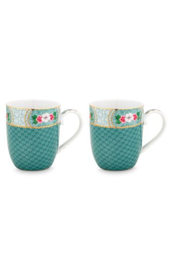 Blushing Birds Set of 2 Mugs small blue