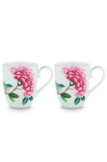 Blushing Birds Set of 2 Mugs large white