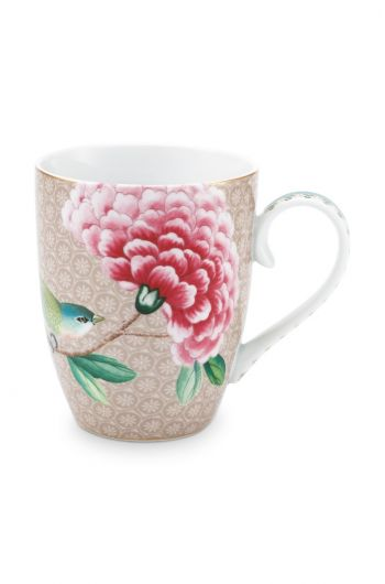 Blushing Birds Mug Large Khaki