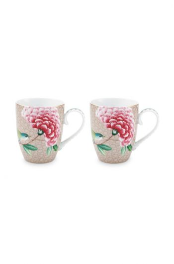 Blushing Birds Set of 2 Mugs Large Khaki