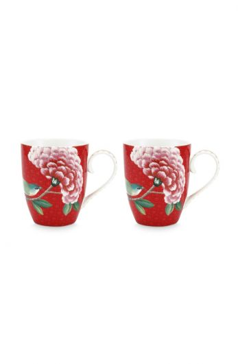 Blushing Birds Set of 2 Mugs Large Red