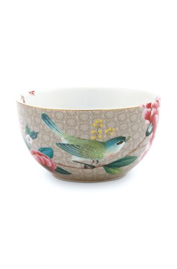 Blushing Birds Bowl Khaki 12 cm