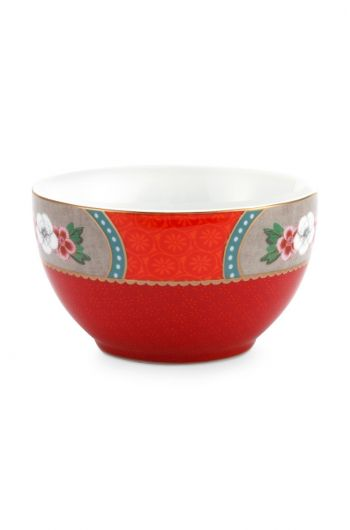 Blushing Birds Star Flower Bowl Small Red 9.5 cm