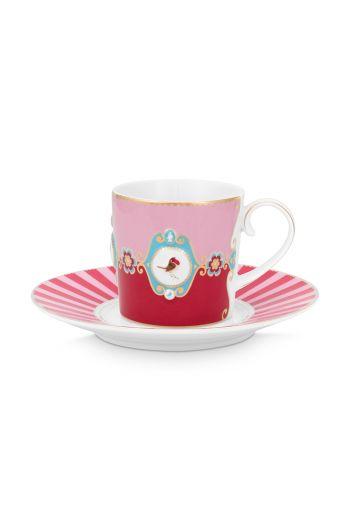 kop-en-schotel-love-birds-in-rood-en-roze-met-vogel