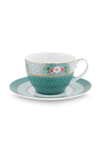 Blushing Birds Cappuccino Cup & Saucer blue