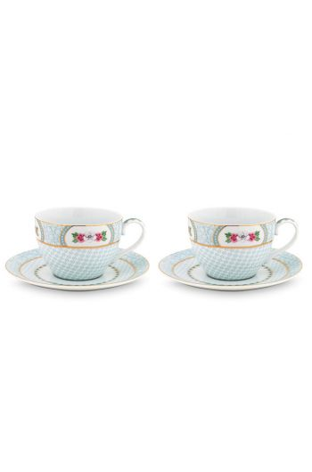 Blushing Birds set/2 cappuccino kop & schotel wit