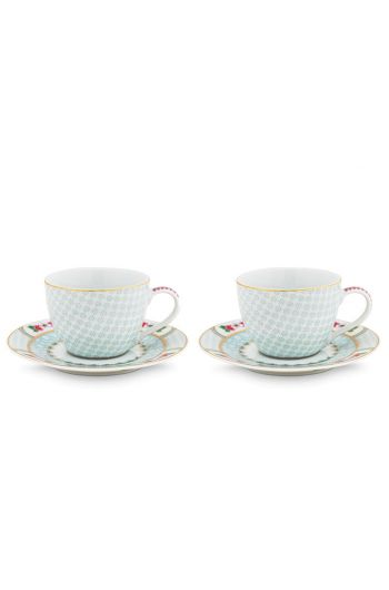 Blushing Birds Set of 2 Espresso Cups & Saucers white