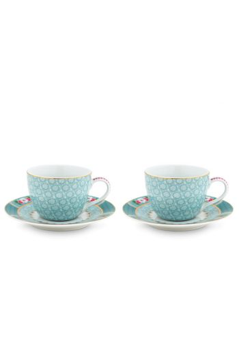 Blushing Birds Set/2 Espresso Tassen & Untertassen blau