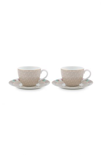 Blushing Birds Set of 2 Espresso Cups & Saucers Khaki