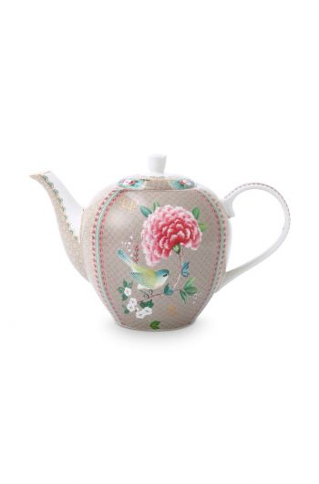 Blushing Birds Teapot Large Khaki