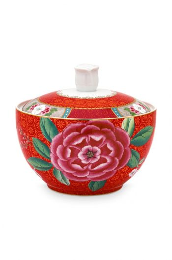 Blushing Birds Sugar Bowl Red