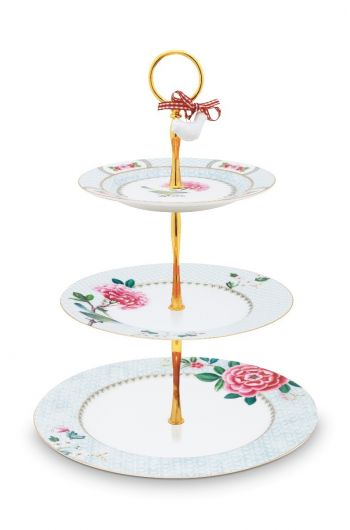 Blushing Birds Cake Stand 3 Levels white