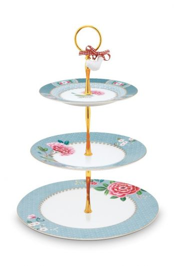 Blushing Birds Cake Stand 3 Levels blue