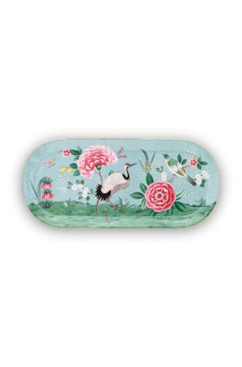 Blushing Birds Rectangular Cake Platter blue 34 cm
