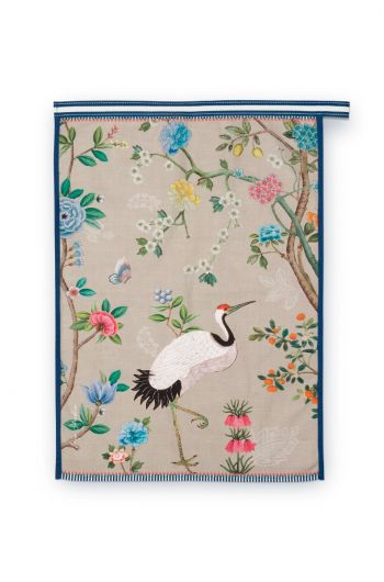 Blushing Birds Tea Towel All-Over Print Khaki