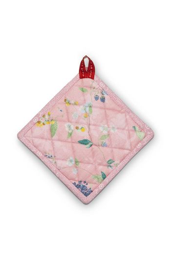 Square Pot Holder Hummingbirds Pink