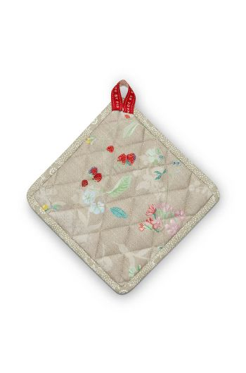 Square Pot Holder Hummingbirds Khaki