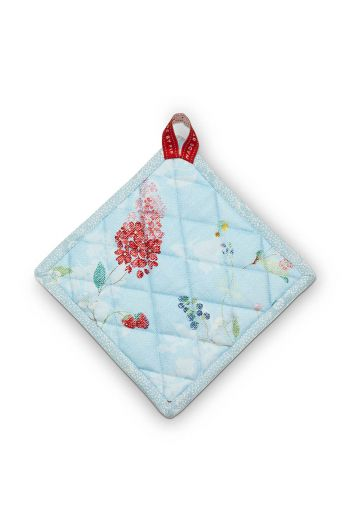 Square Pot Holder Hummingbirds Blue