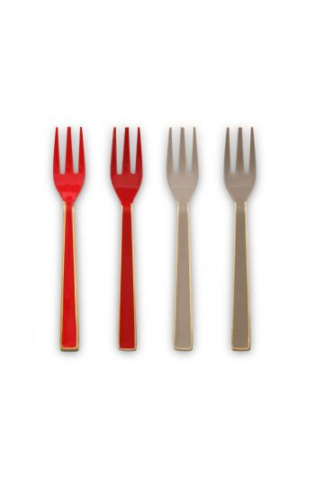 Blushing Birds Set of 4 Enamelled Pastry Forks Khaki/Red