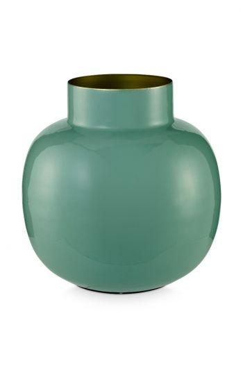 Blushing Birds runde Vase Metall 25 cm grün
