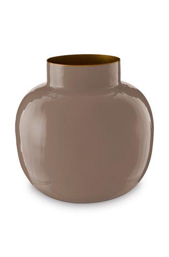 Round Metal Vase Khaki 25 cm