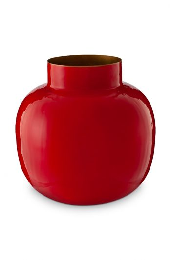 Round Metal Vase Red 25 cm