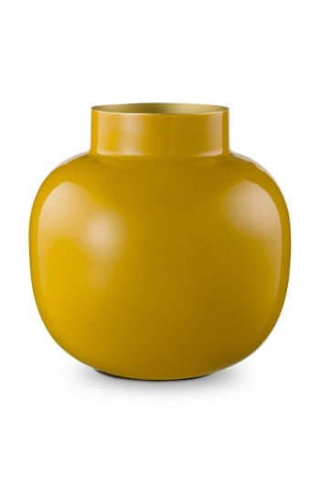 Blushing Birds Round Metal Vase Yellow 25 cm