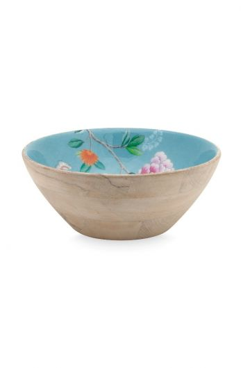 Blushing Birds Wooden Bowl blue 28 cm