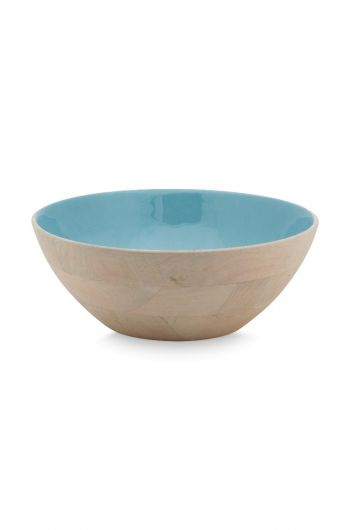 Blushing Birds Wooden Bowl blue 32 cm