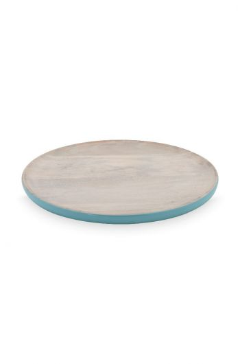 Blushing Birds Wooden Plate blue 25 cm