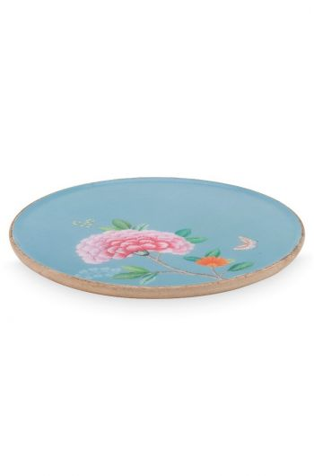 Blushing Birds Wooden Enamelled Plate blue 32 cm