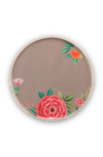 Blushing Birds Wooden Enamelled Plate Khaki 32 cm