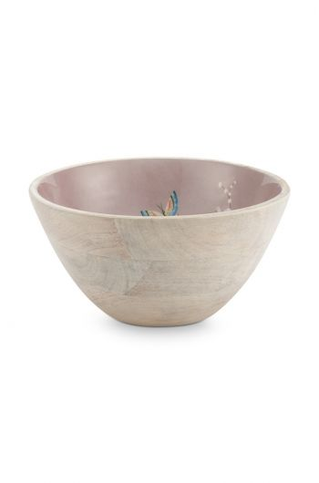 Blushing Birds Wooden Bowl Khaki 24 cm