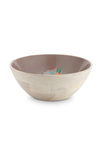 Blushing Birds Wooden Bowl Khaki 32 cm
