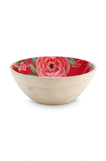 Blushing Birds Wooden Bowl Red 32 cm