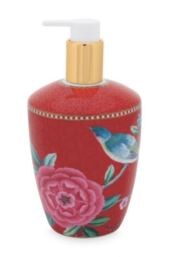 Soap Dispenser Floral Good Morning Red