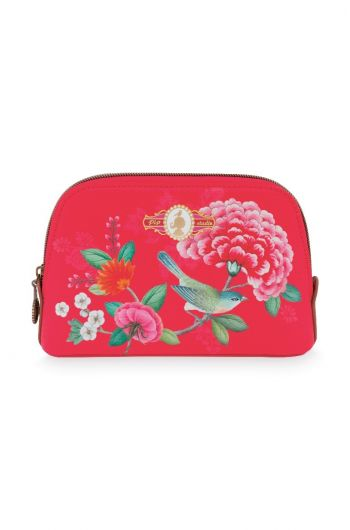 Cosmetic Bag Triangle Small Floral Good Morning Red
