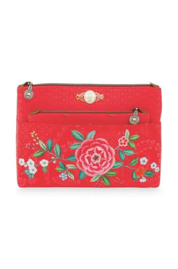 Cosmetic Bag set Floral Good Morning Red