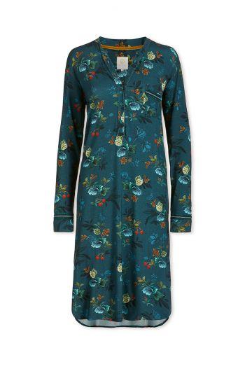 Nachthemd Lange Mouw Leafy Stitch Blauw