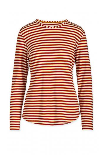 Top Long Sleeve Sleepy Striper Red