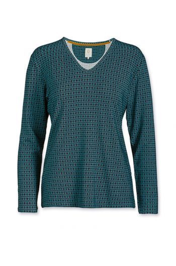 Top Long Sleeve Folk Stitch Blue