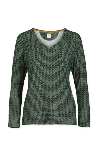Top Long Sleeve Folk Stitch Green