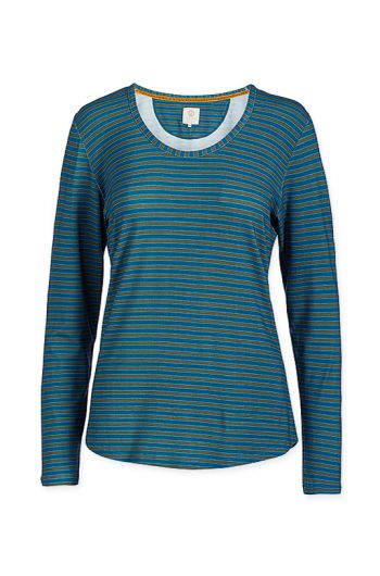top-lange-mouw-fushion-stripe-blauw