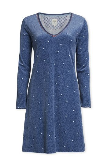 Long sleeve nightdress Freckle blue