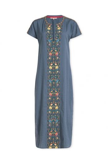 Dress Embroidery Fez Flowers Blue