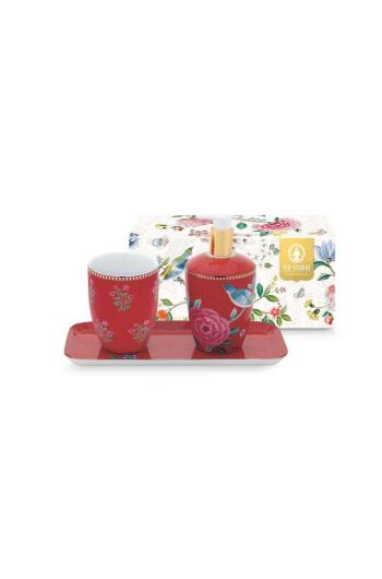 Bathroom Accessories Set Floral Good Morning Red