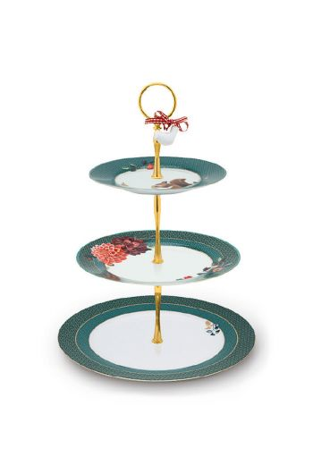 cake-stand-3-levels-winter-wonderland-made-of-porcelain-with-a-squirrel-and-flowers-in-green