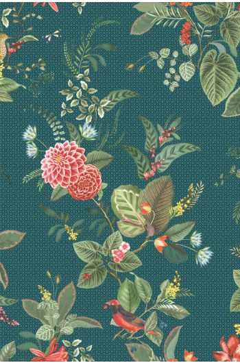 Floris Wallpaper Dark Blue