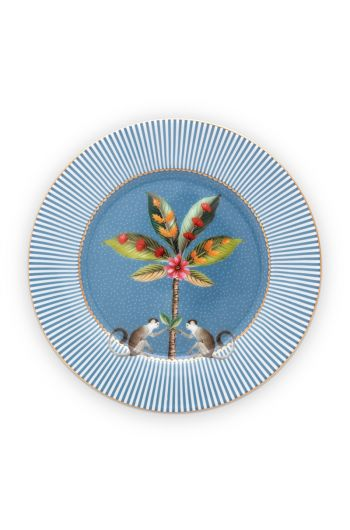 pastry-plate-la-majorelle-made-of-porcelain-with-a-palm-tree-in-blue-17-cm