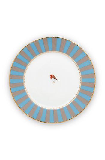 gebaksbordje-love-birds-in-blauw-en-khaki-met-vogel-17-cm